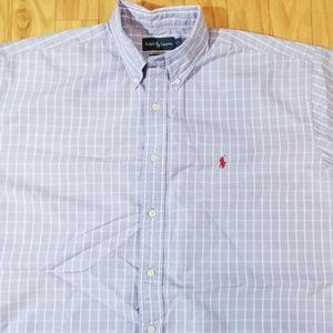 Polo Ralph Lauren Blue Plaid Short Sleeved Shirt